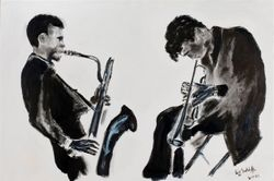 """JAZZ MOOD""  (Gerry Mulligan & Chet Baker in LA)  oil on canvas"