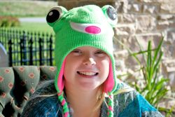 Taylor Barkman with her froggy hat.