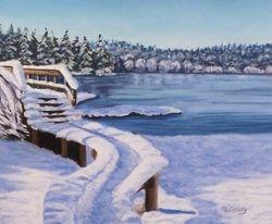 Snowy Bridge Over Noon's Creek