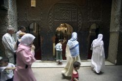 Fasis People Passing the Kairaouine Mosque, Fes