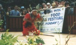 Arjarn Danny performing Krabi Krabong Ngaaw long staff and blade Demonstration Thai Food Festival '98