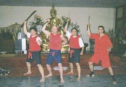 GMKrin, Kru Gary, GMVichit Cheechurn,Master Danny Krabi Krabong Pose at Wat Yarn
