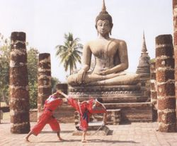 Master Danny showing Krabi-Krabong Chorake Fad Hang - Crocodile Tail Whip Kick Against Sword Thrust
