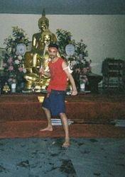 Kru Ash in Krabi Krabong Pose at Wat Yarn