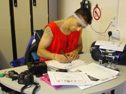 MASTER DANNY WRITING OUT LEVEL 1 CERTIFICATES FOR PRESENTATION