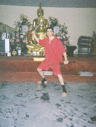 Master Danny in Krabi Krabong Pose at Wat Yarn