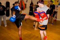Peter on pads Kru Andy padman