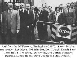 Staff from Birmingham Factory 1975.