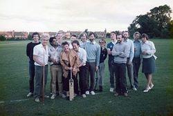 The Cricket team - ?- J. Bennett, Baz Mistry, Mick Tamplin, ?, Martin ?, Graham Ferguson, Stuart Gardner, Colin Breedon, Alan Rowley, Andy Raven, Pete Cox, John Lewis, Keith Beesley & Paulette Ballard.