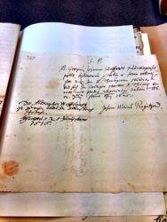 Handwritten Note from 1616