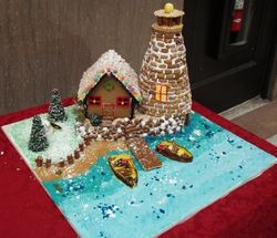 Gingerbread Lighthouse and boats