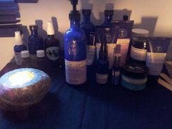 An array of Blue Bottles (Neal's Yard) and oils