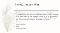 Revolutionary War Service