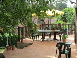The extensive patio