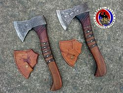 Custom Made Forged Steel Hunting Ax with Engravings