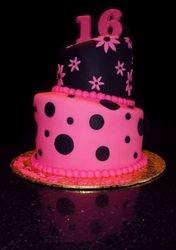 Pink & Black Sweet 16 Topsy Turvy Cake