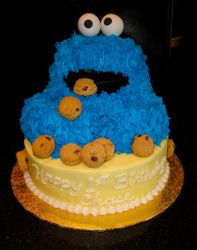 3D Cookie Monster 1st Birthday for Chase