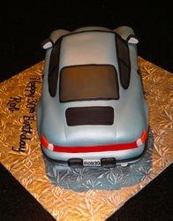 Silver Blue Porsche 911 3D Car 30th Bday cake