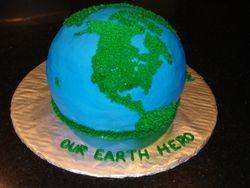 3D Earth Hero Theme Birthday Cake