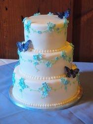 Wedding Cake with Blue Flowers & Butterflies