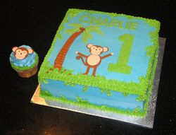 Monkey Themed 1st Birthday Cake for Charlie
