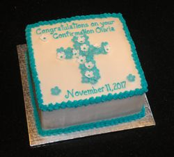 Teal and White Confirmation Cake