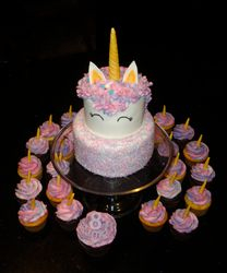 2 Tiered Unicorn Cake and Cupcakes