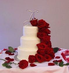Cascade of Red Roses Wedding Cake