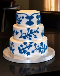3 Tiered Chinoiserie Wedding Cake