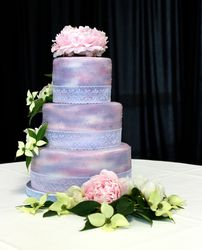 3 Tiered Wedding Cake with Peonies