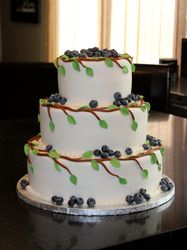 3 Tiered Wedding Cake with Blueberries & vines