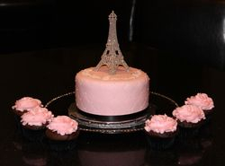 Vintage Paris Theme Birthday Cake & Cupcakes