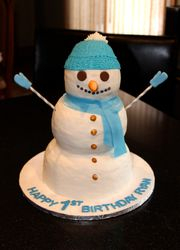 3D Snowman Birthday Cake