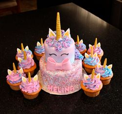 Unicorn Birthday Cake and Cupcakes