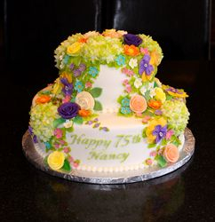Cascade of Flowers 75th Birthday Cake