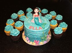 Mermaid Birthday Cake and Cupcakes