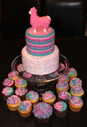 Llama Theme Birthday Cake and Cupcakes