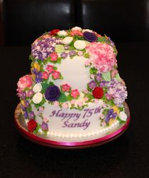 75th Birthday Cascade of Flowers Cake