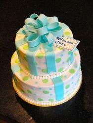 2 Tiered Baby Shower Present Cake
