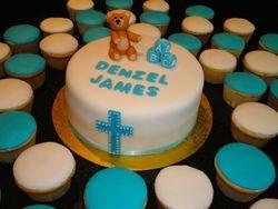 Blue & white Baptism Cake & cupcakes