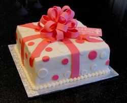 Pink & White Baptism Present Cake