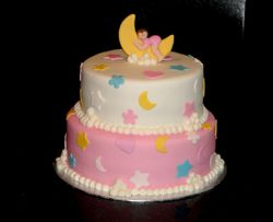 2 Tiered Over the Moon Baby Shower Cake