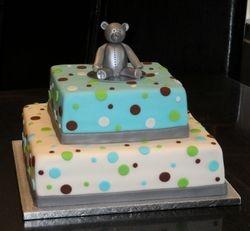 Teddy Bear & Polka Dots Baptism Cake