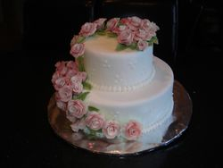 2 Tier Wedding Cake with Cascading Pink Roses