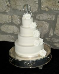 4 Tiered Wedding Cake with White Sugar Roses
