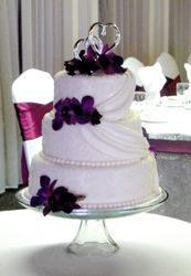 3 Tiered Wedding Cake with Swags and Orchids