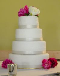 4 Tiered Wedding Cake with Peonies
