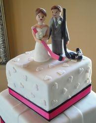 Fondant Bride & Groom Hockey Players Cake Topper