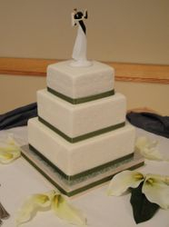 3 Tiered square Wedding Cake with Green Accents