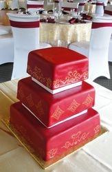 Red Fondant Wedding Cake